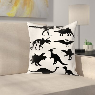 Dinosaur Ancient Wild Skeleton Square Cushion Pillow Cover Size: 16 x 16