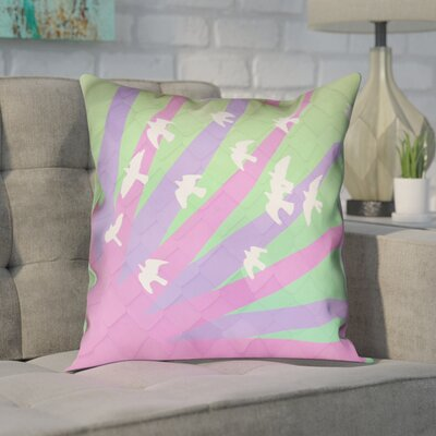 Enciso Birds and Sun 100% Cotton Pillow Cover Color: Purple/Green, Size: 18 H x 18 W