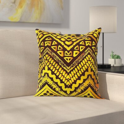 Ethnic Geometric Motif Square Pillow Cover Size: 16 x 16