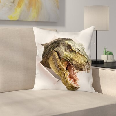 Dinosaur Dino Tears Up Paper Square Cushion Pillow Cover Size: 18 x 18