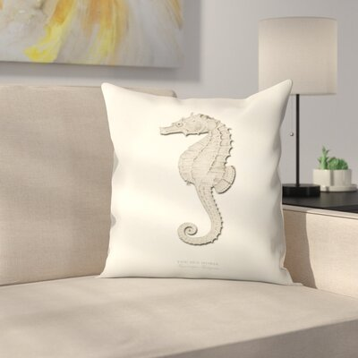 Greige Sea Horse Throw Pillow Size: 18 x 18