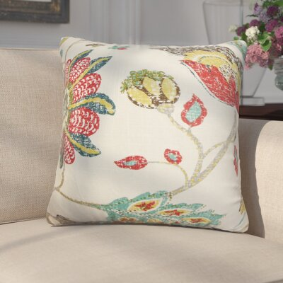 Frans Floral Cotton Throw Pillow Color: White