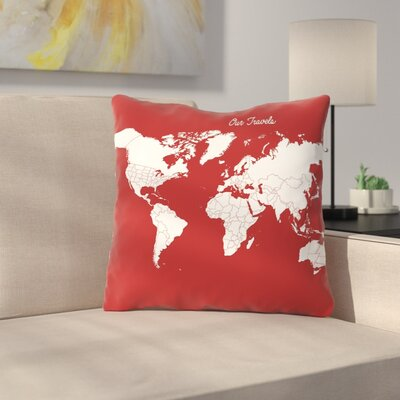 Our Travels Throw Pillow Size: 16 H x 16 W x 2 D, Color: Crimson