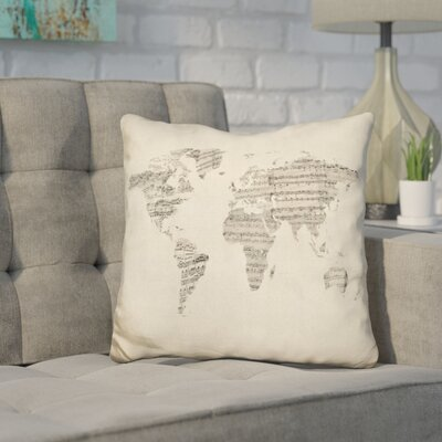 Harner World Sheet Music Map Throw Pillow