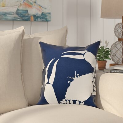 Shirley Mills Crab Dip Animal Print Throw Pillow Size: 18 H x 18 W, Color: Navy Blue