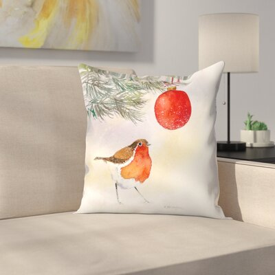 Robin and Bauble Throw Pillow Size: 16 x 16