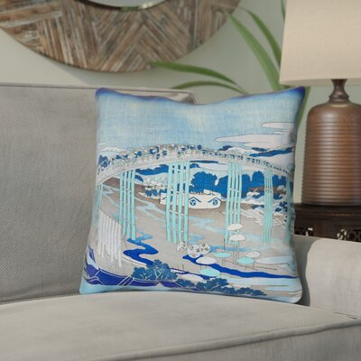 Clair Japanese Bridge Throw Pillow Color: Blue, Size: 14 x 14