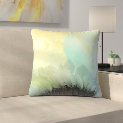 Blue Sunflower Throw Pillow Size: 14