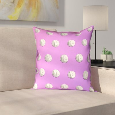 Volleyball Linen Pillow Cover Size: 18 x 18, Color: Pink/Purple
