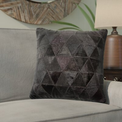 Graham Mosaik Leather Throw Pillow Color: Black