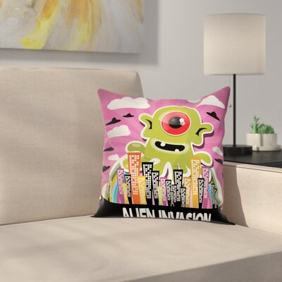 Cartoon Alien Invasion Square Pillow Cover Size: 24 x 24