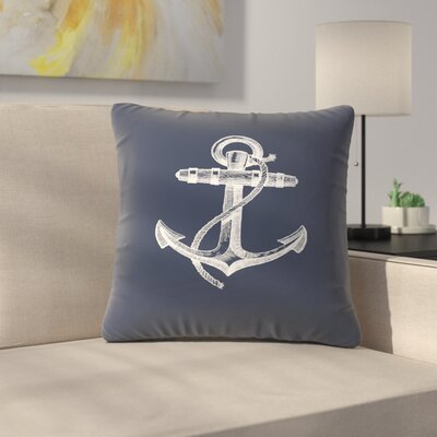 Navy Anchor Throw Pillow Size: 16 x 16