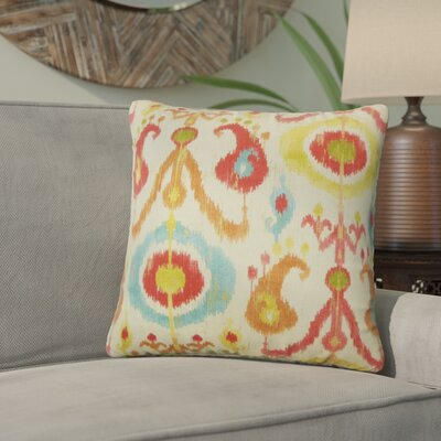 Sidney Ikat Cotton Throw Pillow Color: Papaya
