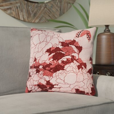 Clair Peonies and Butterfly Indoor Throw Pillow Size: 18 H x 18 W, Color: Red