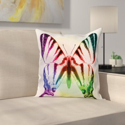 Swallowtail Artistic Butterfly Square Cushion Pillow Cover Size: 18 x 18