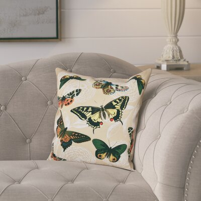 Swan Valley Antique Butterflies and Flowers Animal Print Throw Pillow Size: 26 H x 26 W, Color: Gold