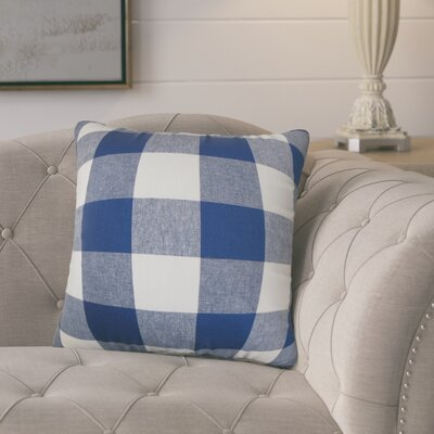 Pinegar Plaid Cotton Throw Pillow Color: Blue