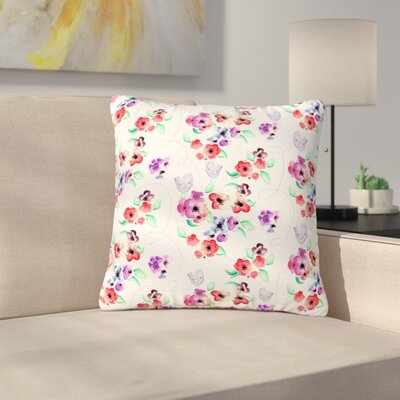 Zara Martina Mansen Signs of Spring Outdoor Throw Pillow Size: 16 H x 16 W x 5 D, Color: Red/White