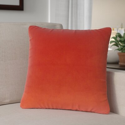 Theriault Solid Cotton Throw Pillow Color: Salsa