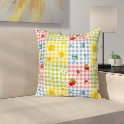Flowers and Strawberries Pillow Cover Size: 16 x 16