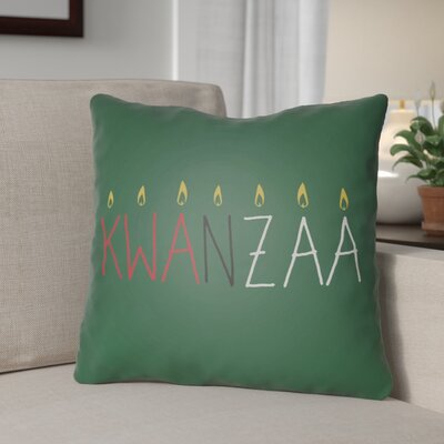 Indoor/Outdoor Throw Pillow Size: 18 H x 18 W x 4 D, Color: Green/Yellow/Red/White