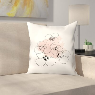 Minimalist Flowers Throw Pillow Size: 14 x 14