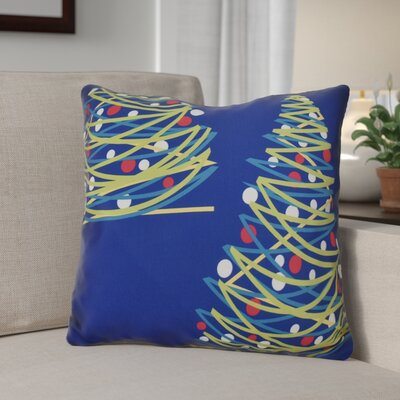Christmas Tree Outdoor Throw Pillow Size: 18 H x 18 W, Color: Royal Blue