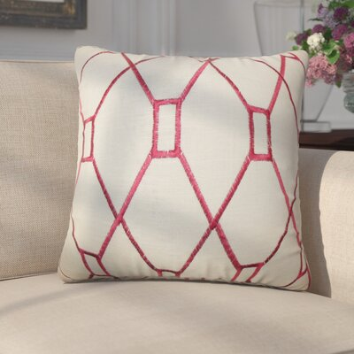 Marcello Geometric Cotton Throw Pillow Color: Red