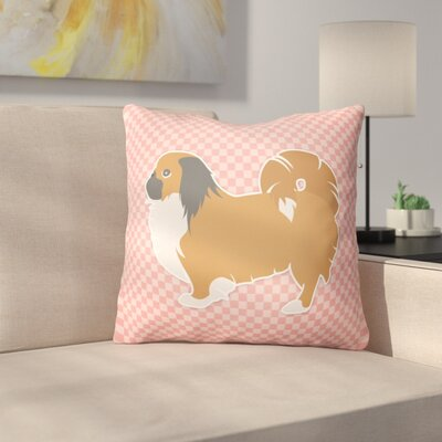 Pekingese Square Indoor/Outdoor Throw Pillow Size: 14 H x 14 W x 3 D, Color: Pink