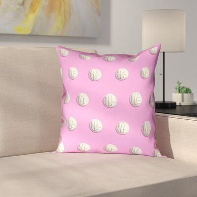 Volleyball Linen Pillow Cover Size: 14 x 14, Color: Pink