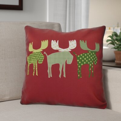 Christmas Decorative Holiday Animal Print Outdoor Throw Pillow Size: 20 H x 20 W, Color: Cranberry