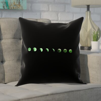 Enciso Moon Phases Linen Pillow Cover Color: Green, Size: 16 x 16