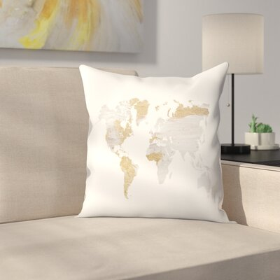 Gray Gold World Map Throw Pillow Size: 18 x 18