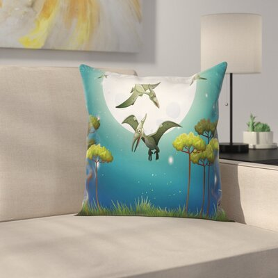 Dinosaur Flying Cartoon Animals Square Cushion Pillow Cover Size: 18 x 18