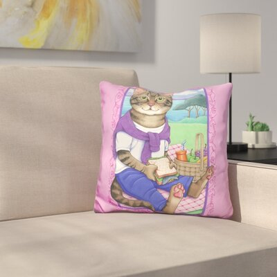 Picnic Cat Throw Pillow