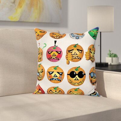 Halloween Decor Pumpkin Emoji Square Pillow Cover Size: 18 x 18