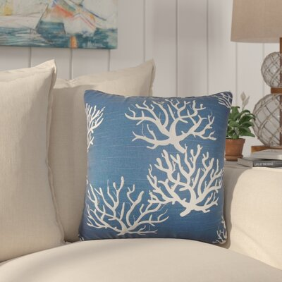 Martinique Coastal Cotton Throw Pillow Color: Navy