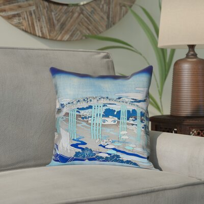 Enya Japanese Bridge Outdoor Throw Pillow Color: Blue, Size: 18 x 18