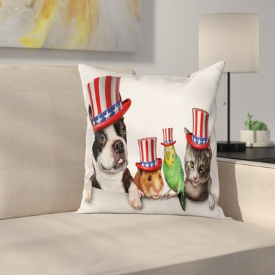 Fourth of July American Pets Square Pillow Cover Size: 16 x 16