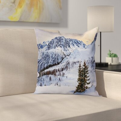 Nature Snowy Mountain Winter Square Pillow Cover Size: 18 x 18