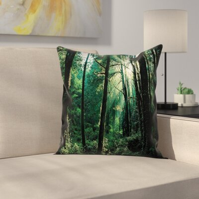 Sunset in Woods Trees Square Pillow Cover Size: 24 x 24