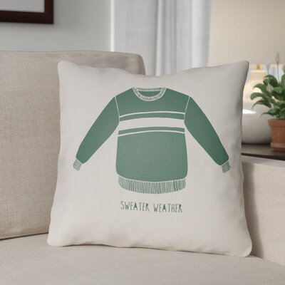 Sweater Weather Indoor/Outdoor Throw Pillow Size: 20 H x 20 W x 4 D, Color: White/Green