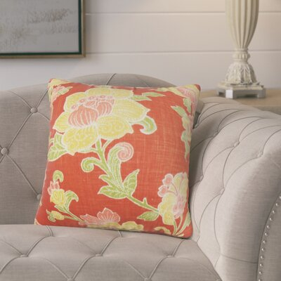 Marcelino Floral Cotton Throw Pillow Color: Red/Yellow