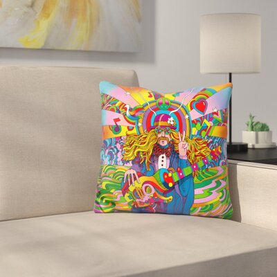 Hippie Musician Throw Pillow