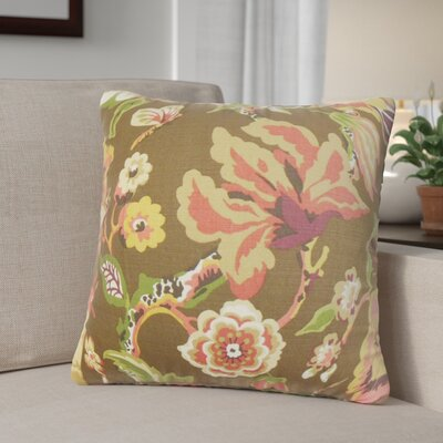 Pearse Floral Throw Pillow Color: Chocolate, Size: 18 x 18