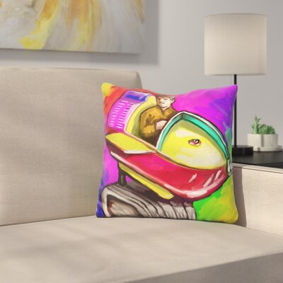 Kiddie Rocket Ride Throw Pillow