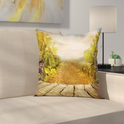 Wine Vineyard Grape Lush Garden Square Pillow Cover Size: 18 x 18