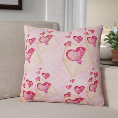 Watercolor Love Letter Outdoor Throw Pillow