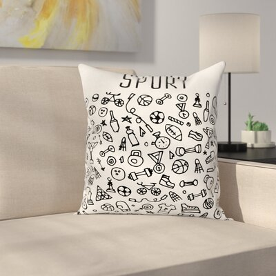 Fitness Sports Gym Icons Cute Square Pillow Cover Size: 18 x 18