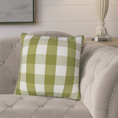 Bhavna Plaid Down Filled 100% Cotton Throw Pillow Size: 18 x 18, Color: Moss Green